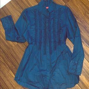 Blue ruffled tunic